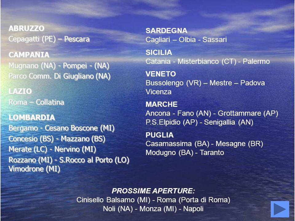 ABRUZZO Cepagatti (PE) – Pescara CAMPANIA Mugnano (NA) - Pompei - (NA) Parco Comm. Di Giugliano (NA) LAZIO Roma – Collatina LOMBARDIA Bergamo - Cesano