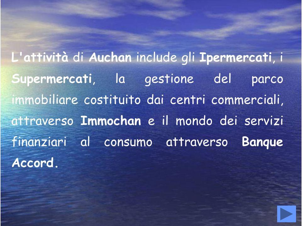 L'attività di Auchan include gli Ipermercati, i Supermercati, la gestione del parco immobiliare costituito dai centri commerciali, attraverso Immochan