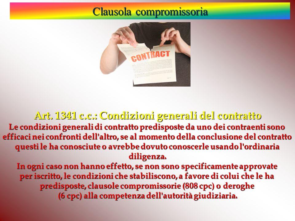 Clausola compromissoria Art.