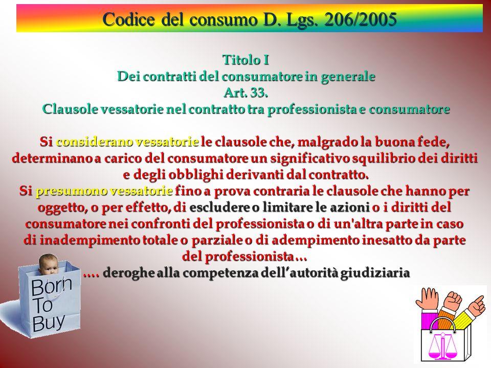 Codice del consumo D.Lgs. 206/2005 Titolo I Dei contratti del consumatore in generale Art.