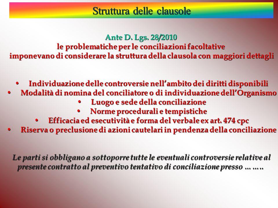 Struttura delle clausole Ante D.Lgs.