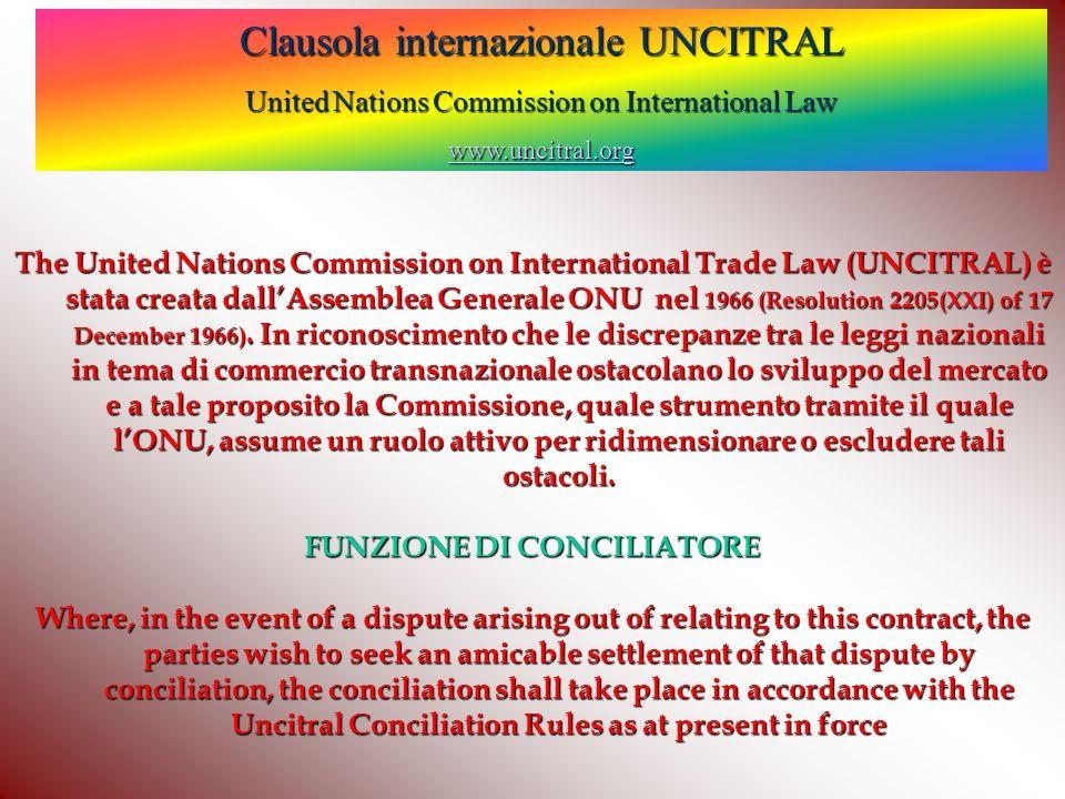 Clausola internazionale UNCITRAL United Nations Commission on International Law wwww wwww wwww....