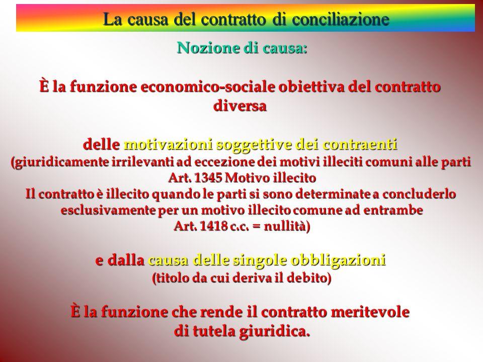 La causa del contratto di conciliazione Nozione di causa: È la funzione economico-sociale obiettiva del contratto diversa delle motivazioni soggettive dei contraenti (giuridicamente irrilevanti ad eccezione dei motivi illeciti comuni alle parti Art.