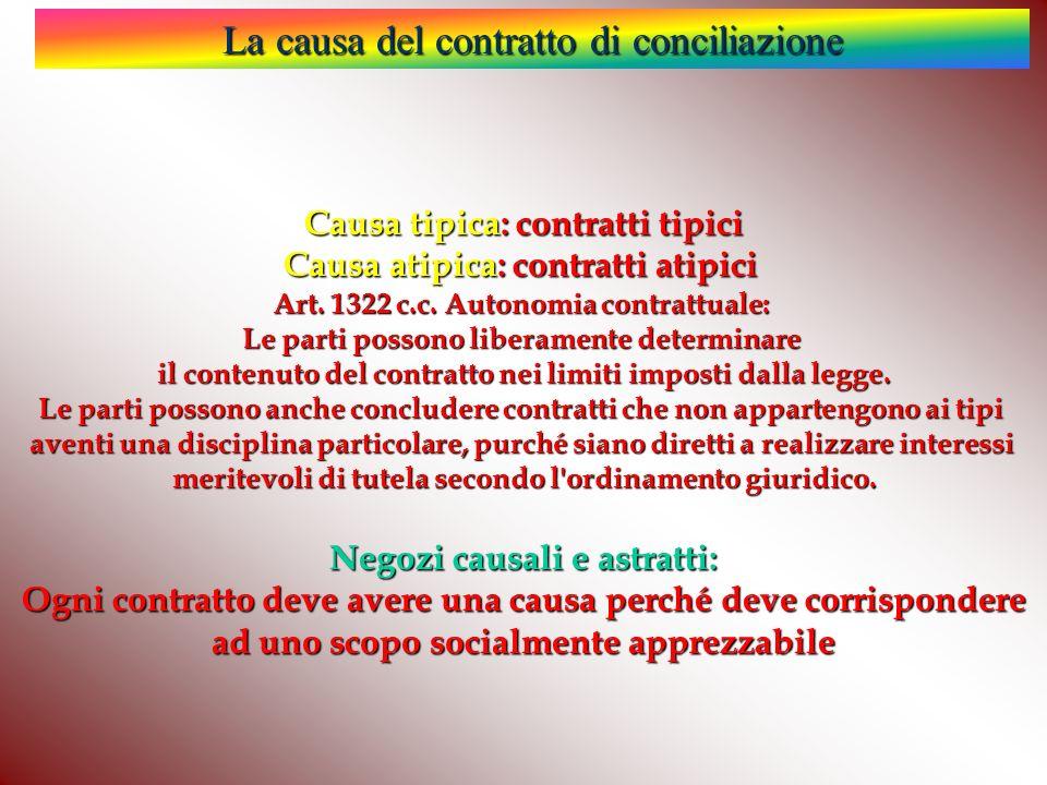 La causa del contratto di conciliazione Causa tipica: contratti tipici Causa atipica: contratti atipici Art.