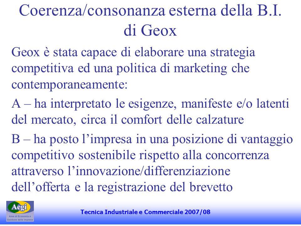 Coerenza/consonanza esterna della B.I. di Geox Geox è stata capace di elaborare una strategia competitiva ed una politica di marketing che contemporan