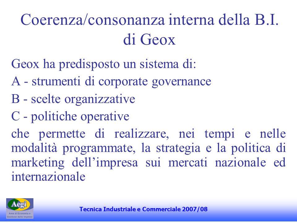 Coerenza/consonanza interna della B.I. di Geox Geox ha predisposto un sistema di: A - strumenti di corporate governance B - scelte organizzative C - p