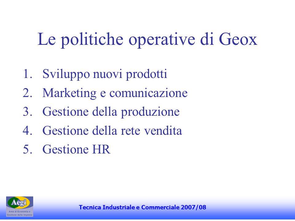 Le politiche operative di Geox 1.Sviluppo nuovi prodotti 2.Marketing e comunicazione 3.Gestione della produzione 4.Gestione della rete vendita 5.Gesti