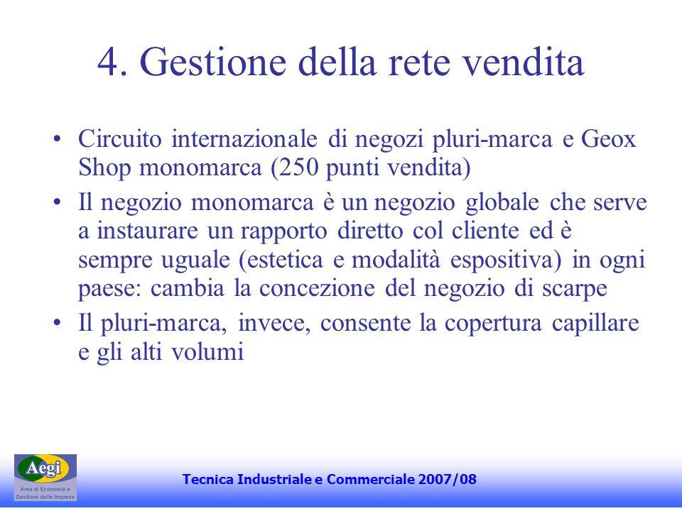4. Gestione della rete vendita Circuito internazionale di negozi pluri-marca e Geox Shop monomarca (250 punti vendita) Il negozio monomarca è un negoz