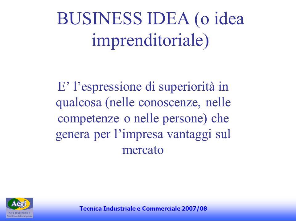 BUSINESS IDEA (o idea imprenditoriale) E lespressione di superiorità in qualcosa (nelle conoscenze, nelle competenze o nelle persone) che genera per l