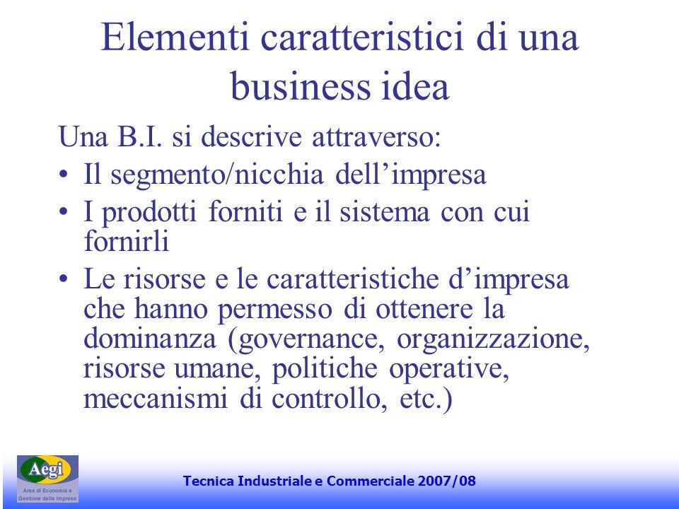 Elementi caratteristici di una business idea Una B.I. si descrive attraverso: Il segmento/nicchia dellimpresa I prodotti forniti e il sistema con cui