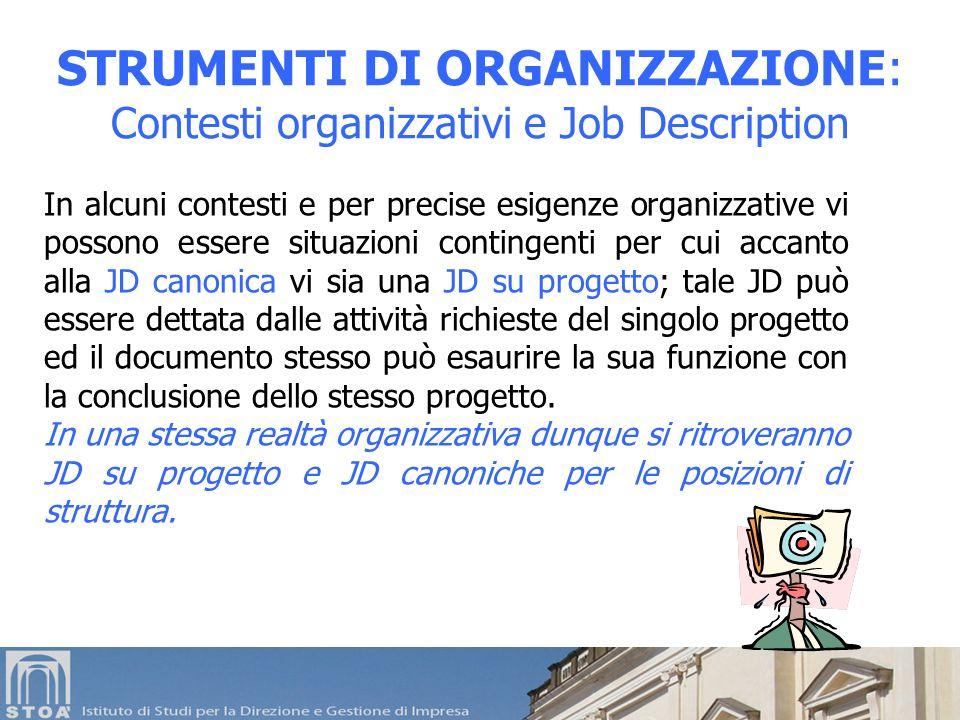 STRUMENTI DI ORGANIZZAZIONE: Contesti organizzativi e Job Description In alcuni contesti e per precise esigenze organizzative vi possono essere situaz