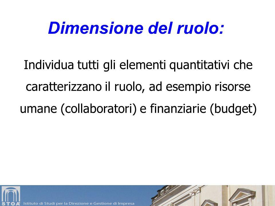 Individua tutti gli elementi quantitativi che caratterizzano il ruolo, ad esempio risorse umane (collaboratori) e finanziarie (budget) Dimensione del