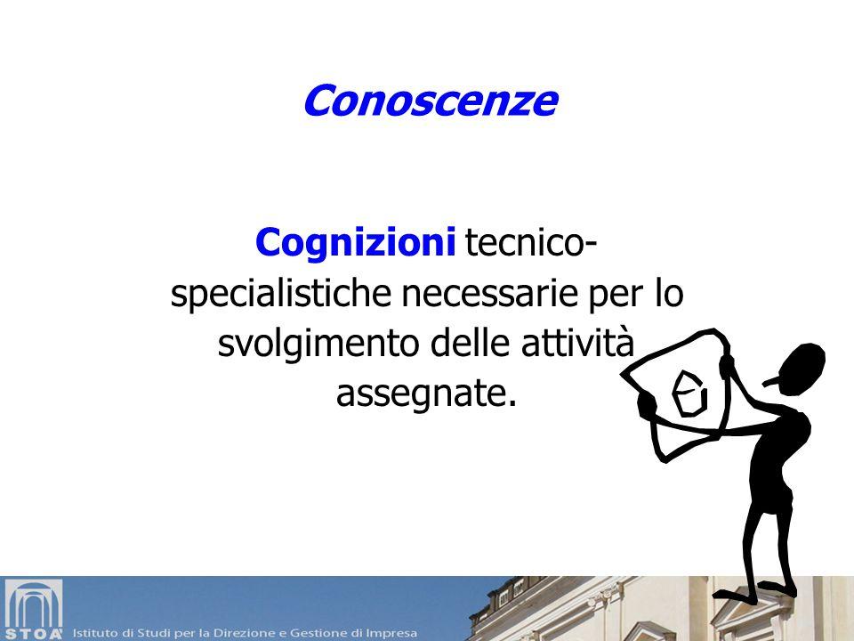 Conoscenze Cognizioni tecnico- specialistiche necessarie per lo svolgimento delle attività assegnate.