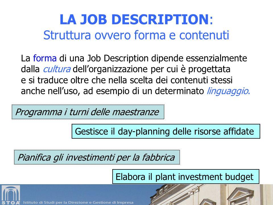 La forma di una Job Description dipende essenzialmente dalla cultura dellorganizzazione per cui è progettata e si traduce oltre che nella scelta dei contenuti stessi anche nelluso, ad esempio di un determinato linguaggio.