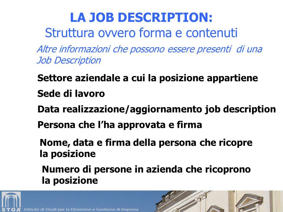 Altre informazioni che possono essere presenti di una Job Description LA JOB DESCRIPTION: Struttura ovvero forma e contenuti Settore aziendale a cui l