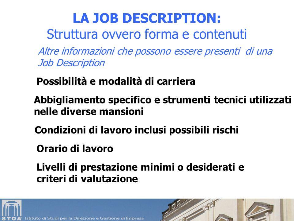 Altre informazioni che possono essere presenti di una Job Description LA JOB DESCRIPTION: Struttura ovvero forma e contenuti Possibilità e modalità di
