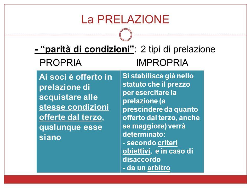 La PRELAZIONE - parità di condizioni: 2 tipi di prelazione PROPRIAIMPROPRIA Ai soci è offerto in prelazione di acquistare alle stesse condizioni offer