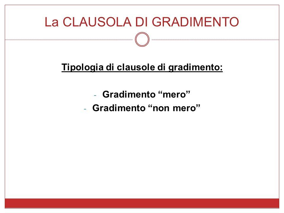 La CLAUSOLA DI GRADIMENTO Tipologia di clausole di gradimento: - Gradimento mero - Gradimento non mero