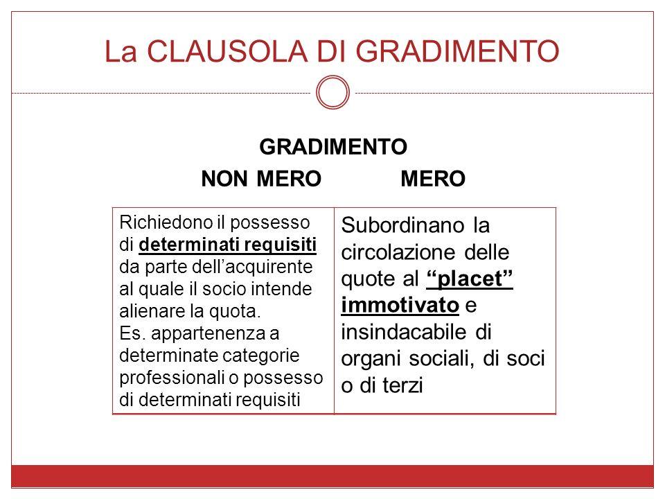La CLAUSOLA DI GRADIMENTO GRADIMENTO NON MEROMERO Richiedono il possesso di determinati requisiti da parte dellacquirente al quale il socio intende al