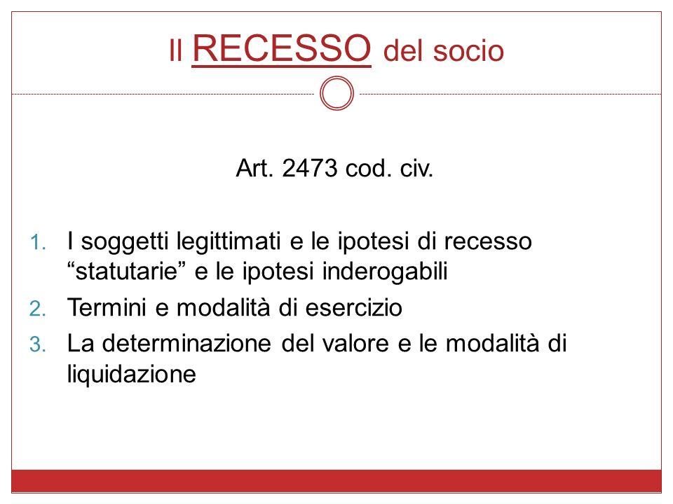 Il RECESSO del socio Art. 2473 cod. civ. 1. I soggetti legittimati e le ipotesi di recesso statutarie e le ipotesi inderogabili 2. Termini e modalità