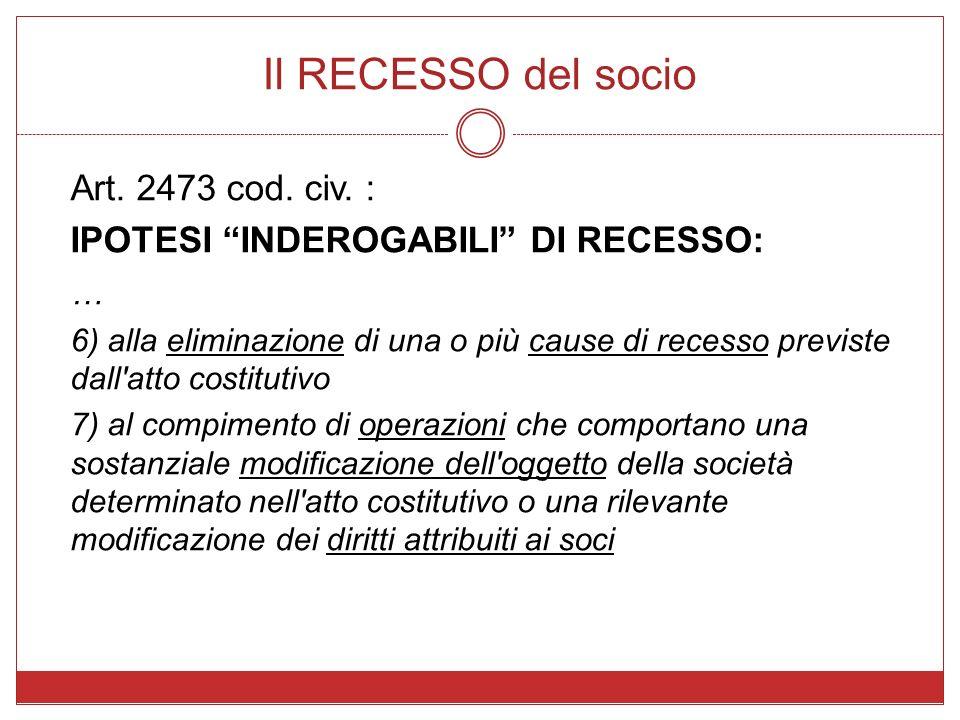 Il RECESSO del socio Art. 2473 cod. civ. : IPOTESI INDEROGABILI DI RECESSO: … 6) alla eliminazione di una o più cause di recesso previste dall'atto co