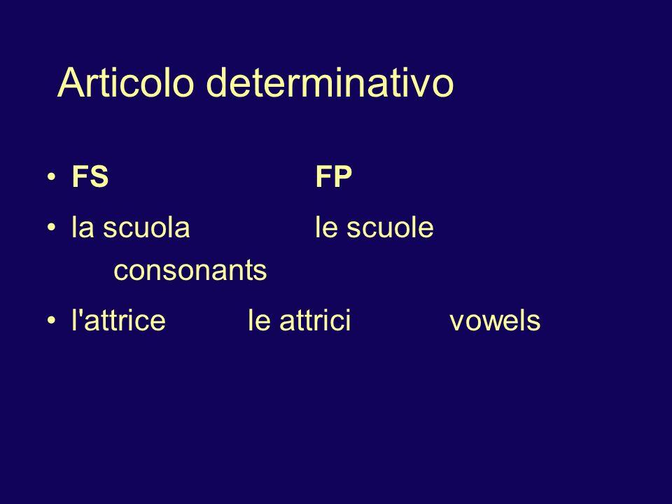 Articolo determinativo FSFP la scuolale scuole consonants l attricele attricivowels