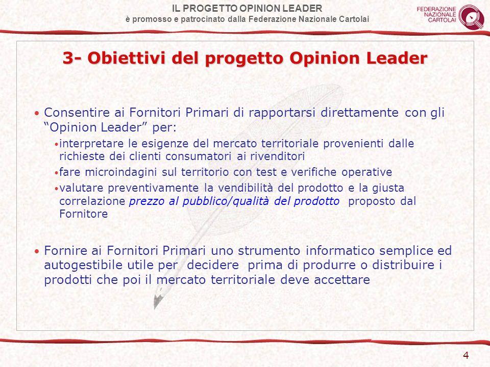 IL PROGETTO OPINION LEADER è promosso e patrocinato dalla Federazione Nazionale Cartolai 5 4- Lo strumento informatico Data Base O.L.