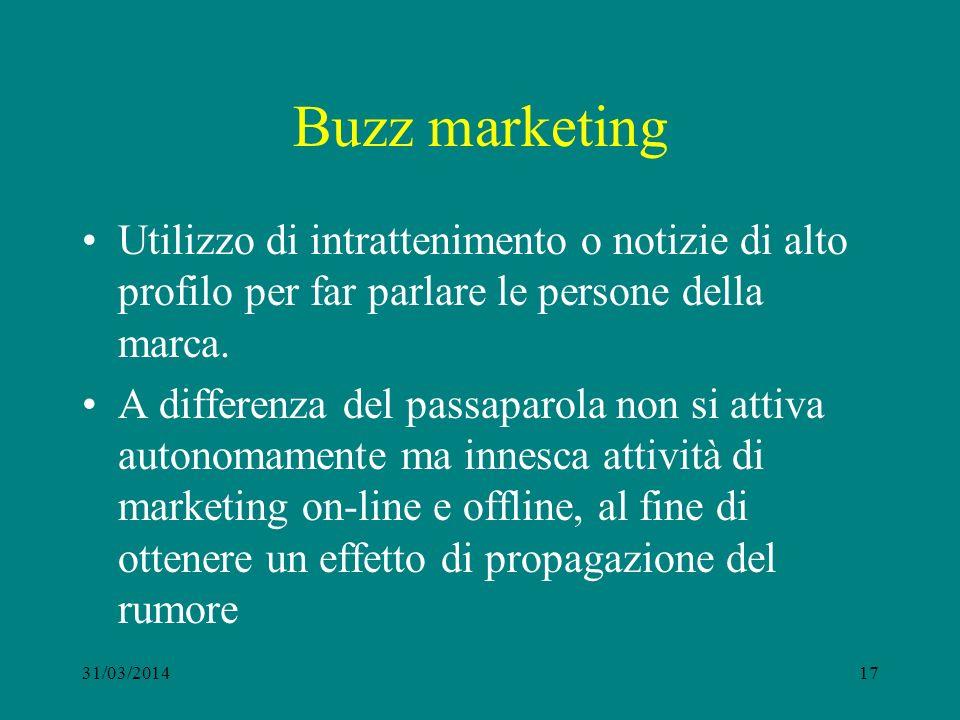 Buzz marketing Utilizzo di intrattenimento o notizie di alto profilo per far parlare le persone della marca.