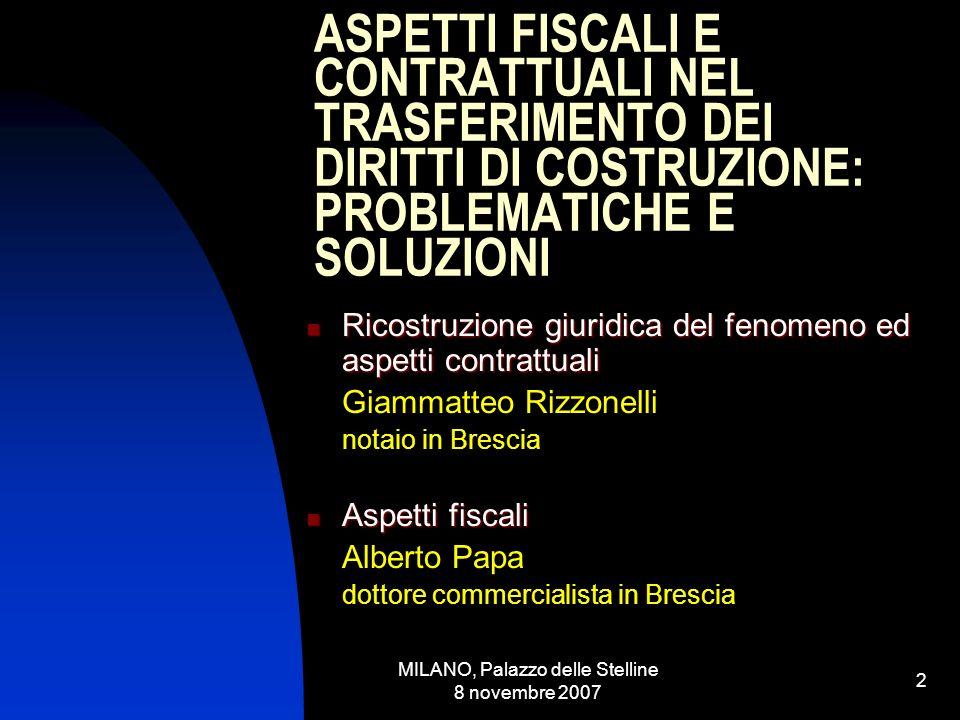 MILANO, Palazzo delle Stelline 8 novembre 2007 1 PEREQUAZIONE URBANISTICA, COMPENSAZIONI, CREDITI EDILIZI Fondazione Giovanni Astengo Piazza Farnese 44 - Roma