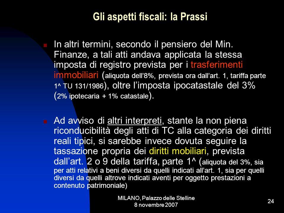 MILANO, Palazzo delle Stelline 8 novembre 2007 23 Gli aspetti fiscali: la Prassi risoluzione Min.Fin.n.