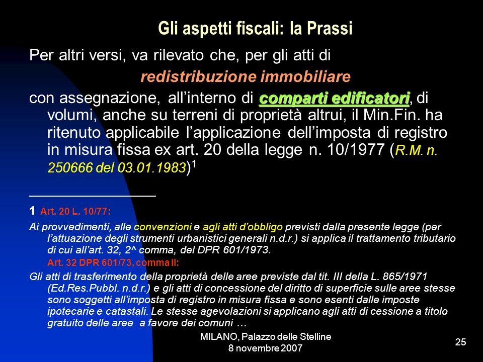 MILANO, Palazzo delle Stelline 8 novembre 2007 24 Gli aspetti fiscali: la Prassi In altri termini, secondo il pensiero del Min.