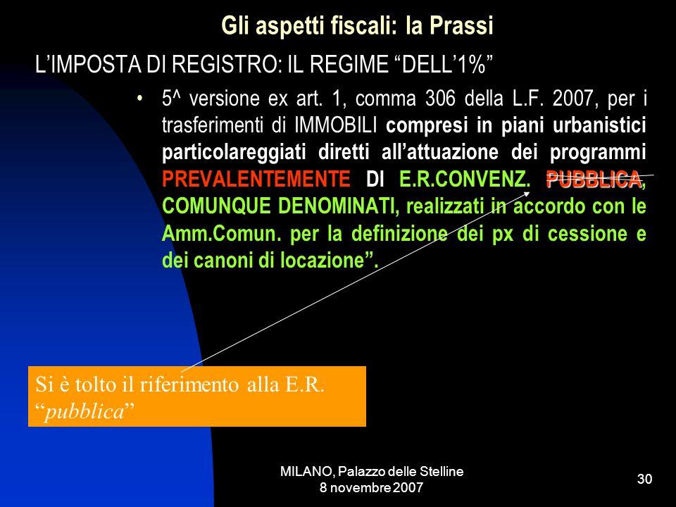 MILANO, Palazzo delle Stelline 8 novembre 2007 29 Gli aspetti fiscali: la Prassi LIMPOSTA DI REGISTRO: IL REGIME DELL1% 4^ versione ( si omettono per semplicità quelle derivanti dalle integrazioni ex art.