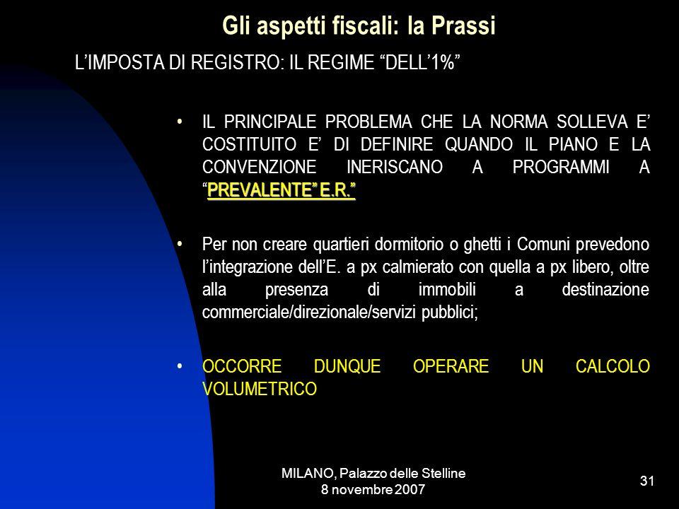 MILANO, Palazzo delle Stelline 8 novembre 2007 30 Gli aspetti fiscali: la Prassi LIMPOSTA DI REGISTRO: IL REGIME DELL1% PUBBLICA5^ versione ex art.