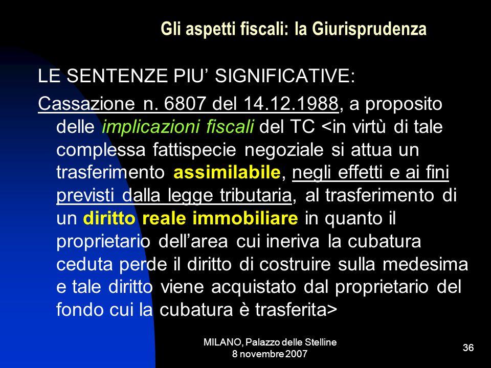 MILANO, Palazzo delle Stelline 8 novembre 2007 35 Gli aspetti fiscali: la Prassi LE CESSIONI GRATUTITE AI COMUNI: La L.R.
