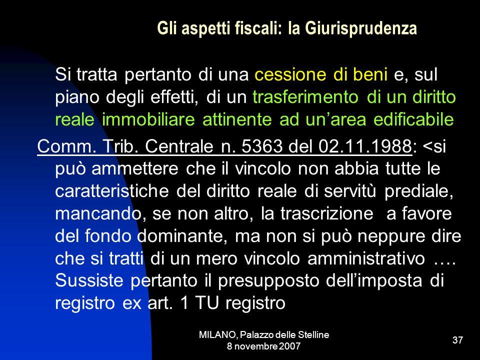 MILANO, Palazzo delle Stelline 8 novembre 2007 36 Gli aspetti fiscali: la Giurisprudenza LE SENTENZE PIU SIGNIFICATIVE: Cassazione n.