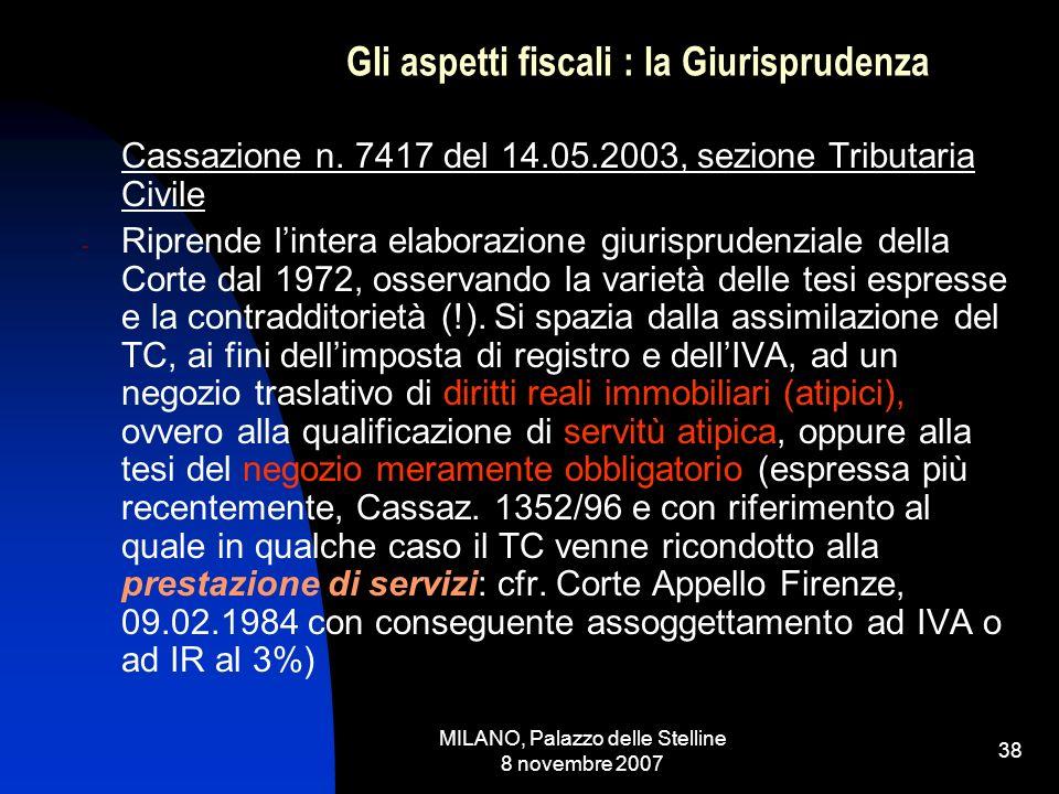 MILANO, Palazzo delle Stelline 8 novembre 2007 37 Gli aspetti fiscali: la Giurisprudenza Si tratta pertanto di una cessione di beni e, sul piano degli effetti, di un trasferimento di un diritto reale immobiliare attinente ad unarea edificabile Comm.