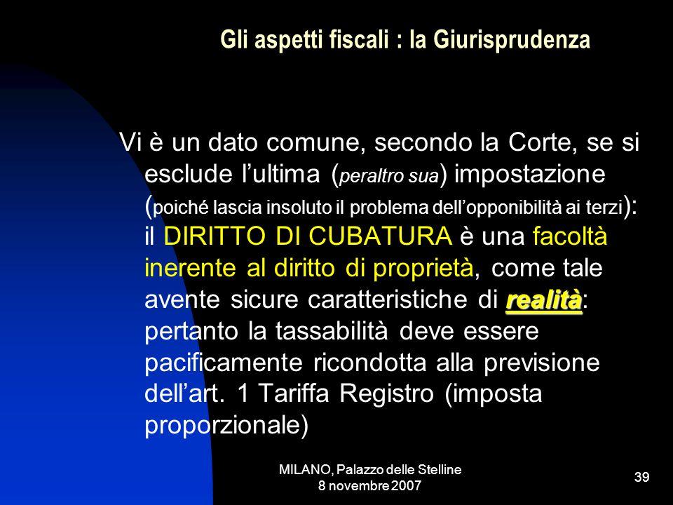 MILANO, Palazzo delle Stelline 8 novembre 2007 38 Gli aspetti fiscali : la Giurisprudenza Cassazione n.