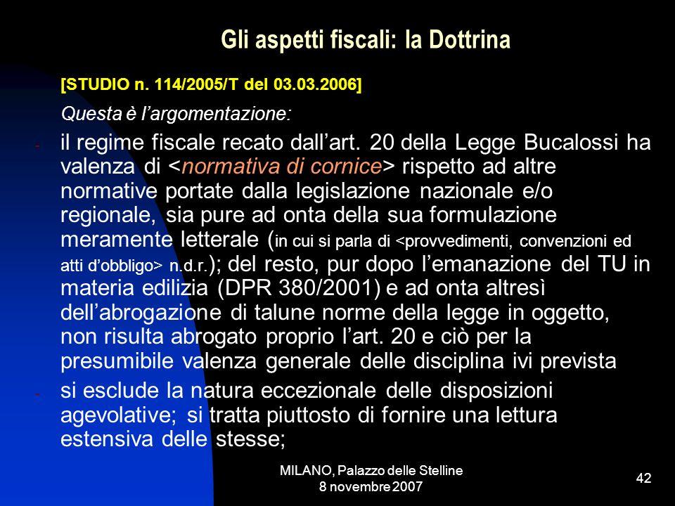 MILANO, Palazzo delle Stelline 8 novembre 2007 41 Gli aspetti fiscali: la Dottrina [STUDIO n.
