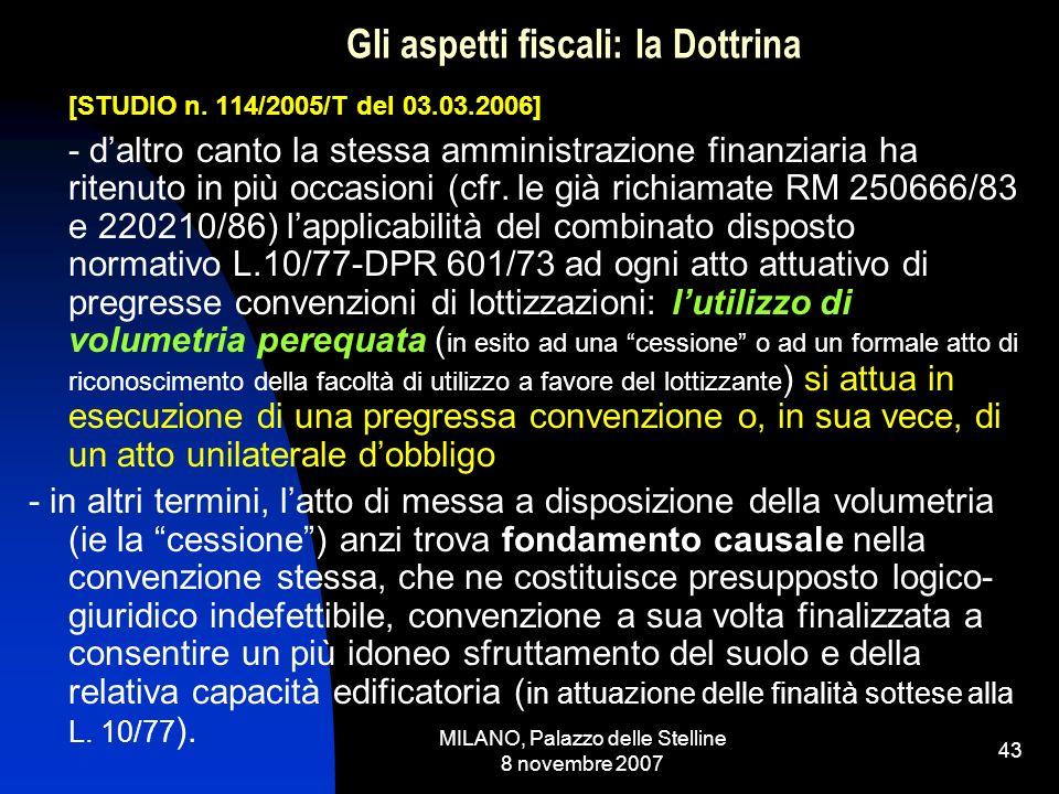 MILANO, Palazzo delle Stelline 8 novembre 2007 42 Gli aspetti fiscali: la Dottrina [STUDIO n.