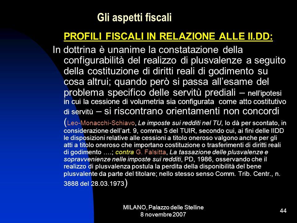 MILANO, Palazzo delle Stelline 8 novembre 2007 43 Gli aspetti fiscali: la Dottrina [STUDIO n.