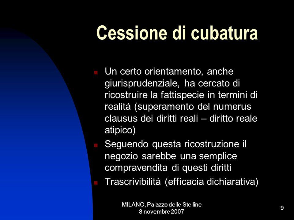 MILANO, Palazzo delle Stelline 8 novembre 2007 8 Situazione giuridica attiva di natura reale o personale.