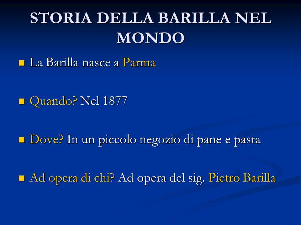 STORIA DELLA BARILLA NEL MONDO La Barilla nasce a Parma La Barilla nasce a Parma Quando? Nel 1877 Quando? Nel 1877 Dove? In un piccolo negozio di pane