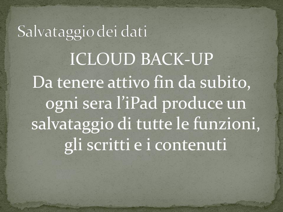 ICLOUD BACK-UP Da tenere attivo fin da subito, ogni sera liPad produce un salvataggio di tutte le funzioni, gli scritti e i contenuti