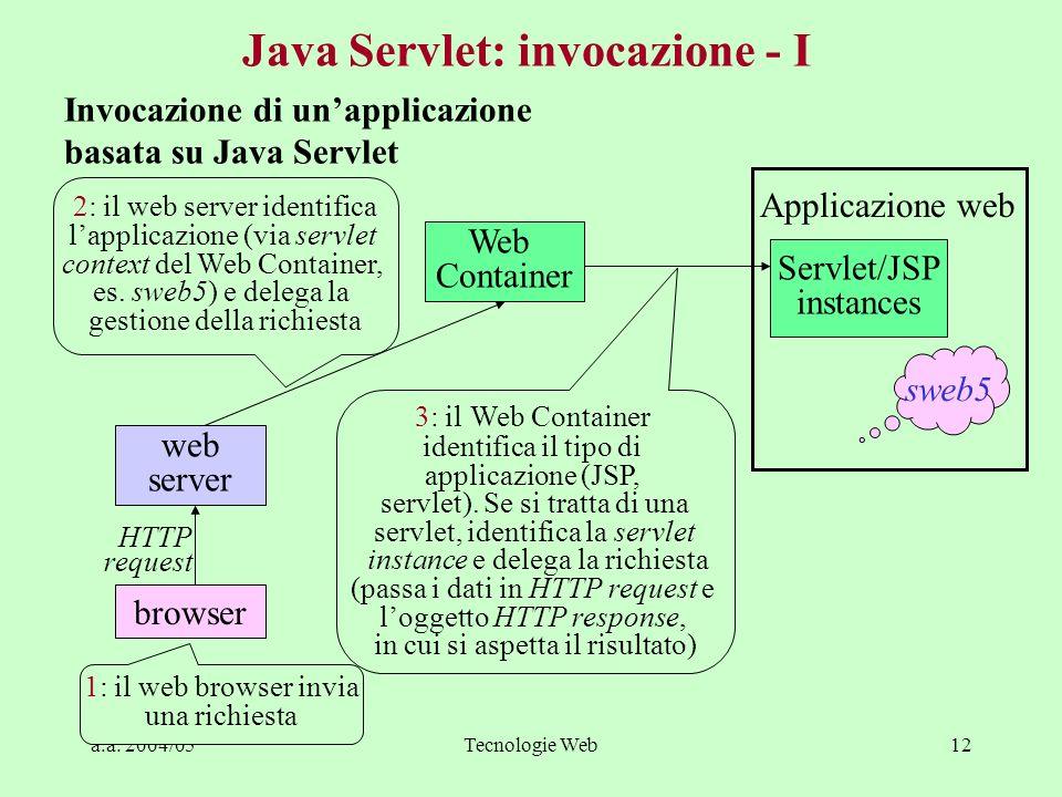 a.a. 2004/05Tecnologie Web12 Java Servlet: invocazione - I Invocazione di unapplicazione basata su Java Servlet Web Container web server browser Servl