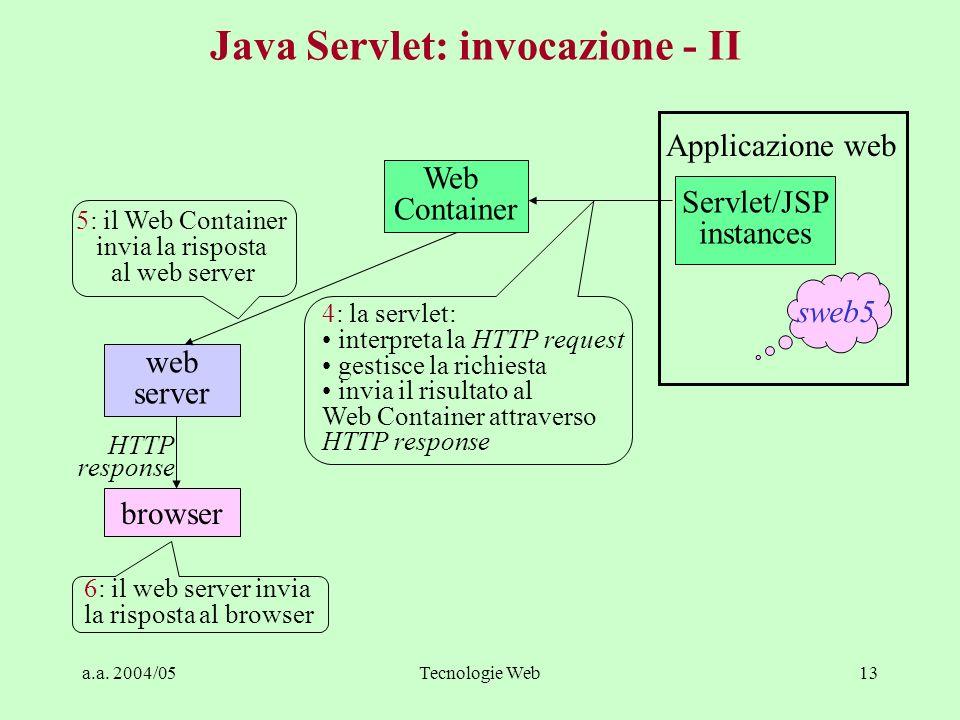 a.a. 2004/05Tecnologie Web13 Java Servlet: invocazione - II Web Container web server browser Servlet/JSP instances Applicazione web HTTP response 6: i