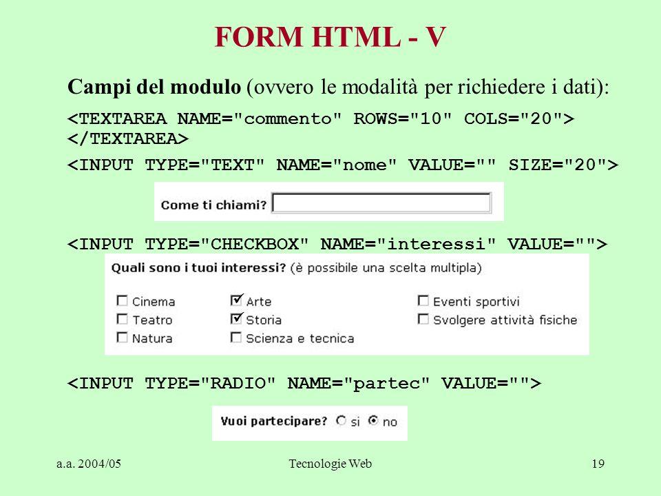 a.a. 2004/05Tecnologie Web19 FORM HTML - V Campi del modulo (ovvero le modalità per richiedere i dati):