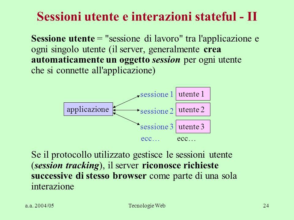 a.a. 2004/05Tecnologie Web24 Sessioni utente e interazioni stateful - II Sessione utente =