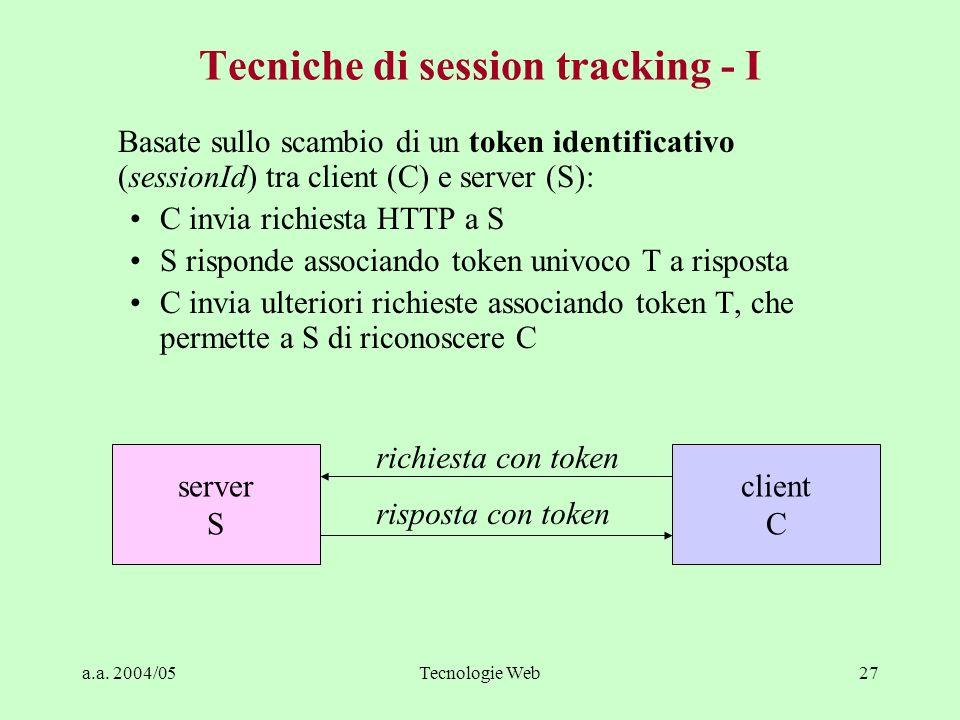 a.a. 2004/05Tecnologie Web27 Tecniche di session tracking - I Basate sullo scambio di un token identificativo (sessionId) tra client (C) e server (S):
