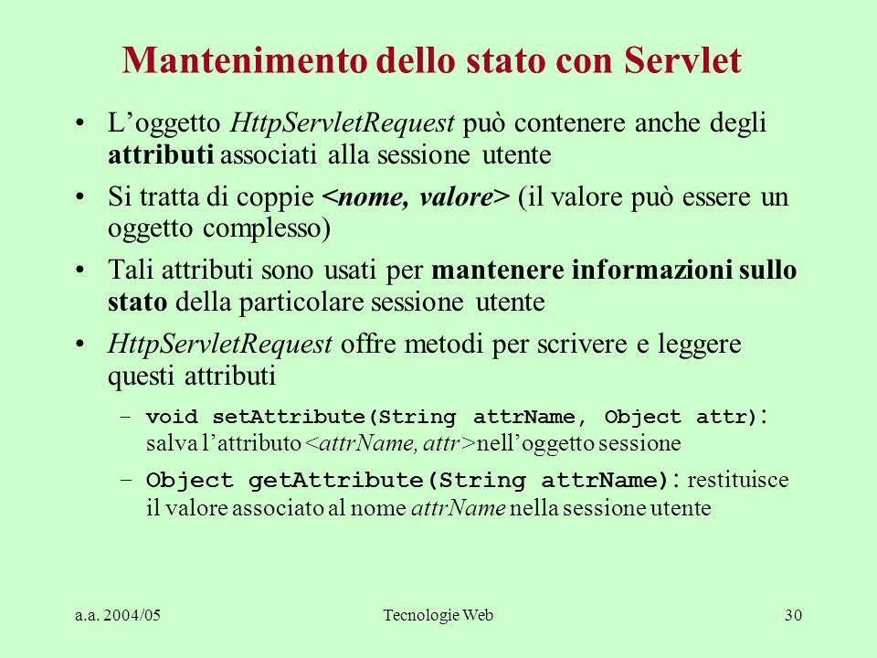 a.a. 2004/05Tecnologie Web30 Mantenimento dello stato con Servlet Loggetto HttpServletRequest può contenere anche degli attributi associati alla sessi