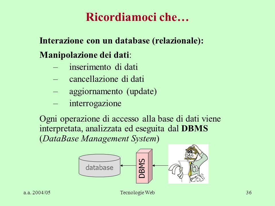 a.a. 2004/05Tecnologie Web36 Interazione con un database (relazionale): Manipolazione dei dati: –inserimento di dati –cancellazione di dati –aggiornam